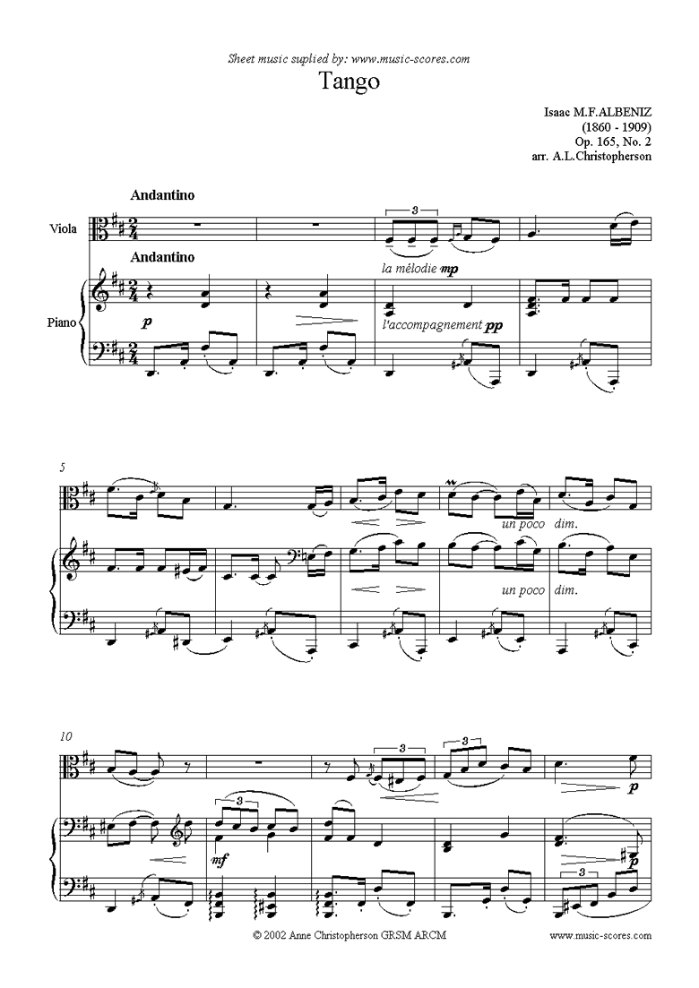 Front page of Tango: Op.165, No.2: Viola sheet music