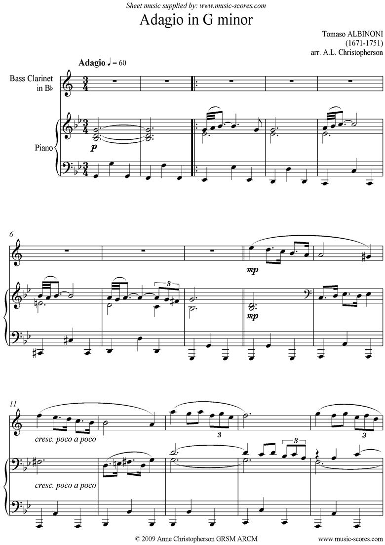 Adagio theme for Bass Clarinet and Piano. by Albinoni