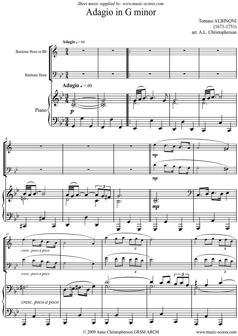 Adagio theme for Baritone Horn and Piano. High. by Albinoni