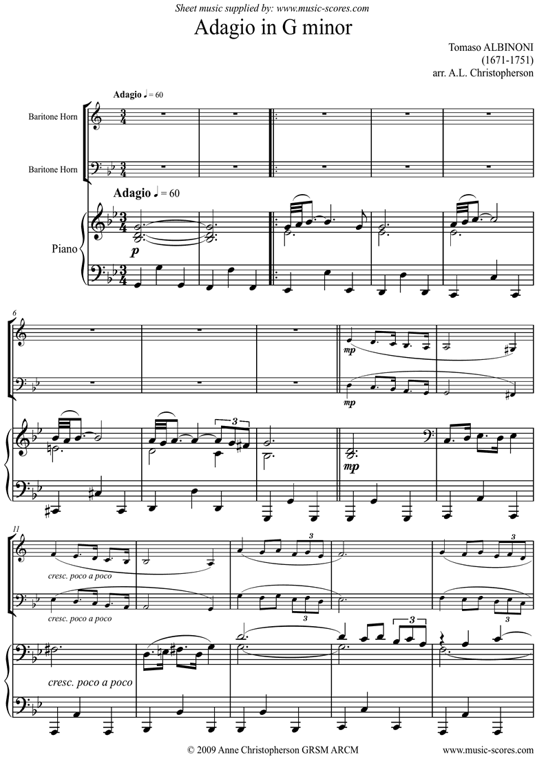 Front page of Adagio theme for Baritone Horn and Piano. Low. sheet music
