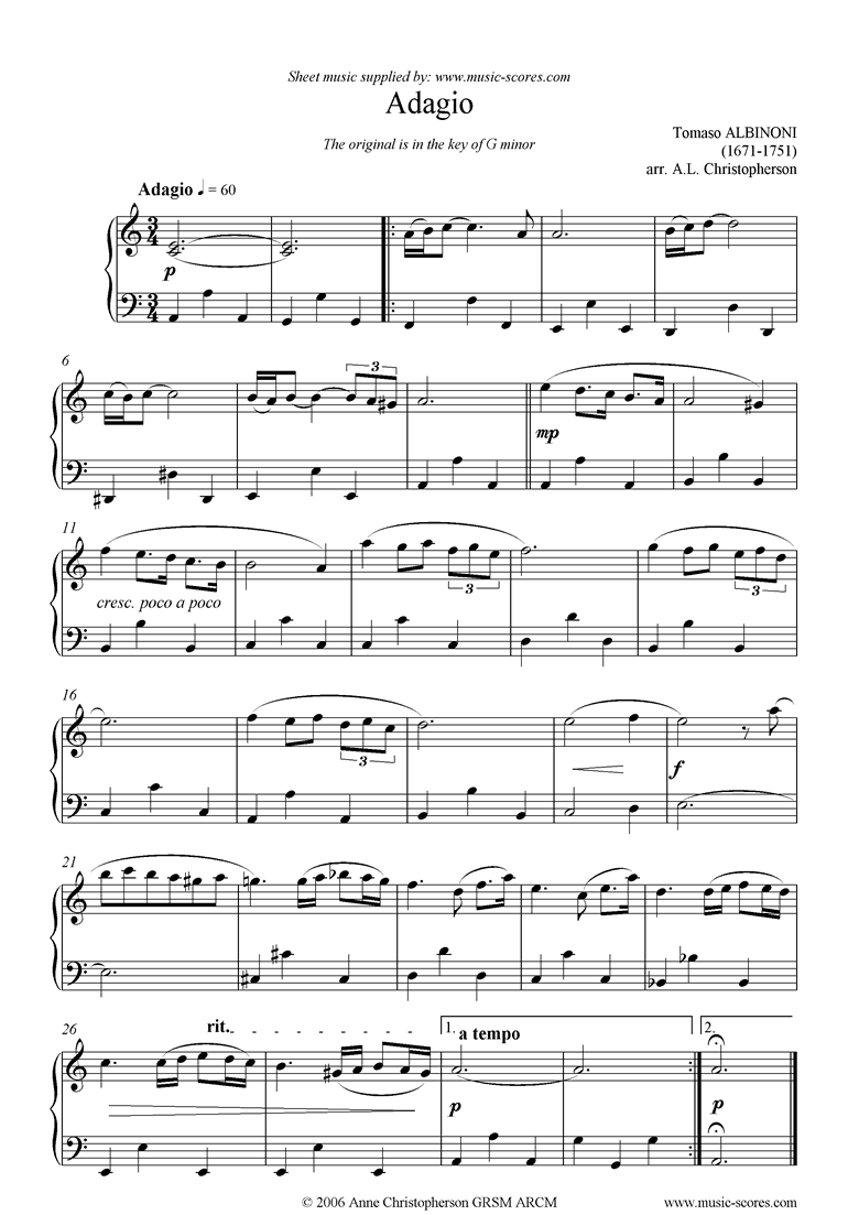 Front page of Adagio theme for easy piano. sheet music
