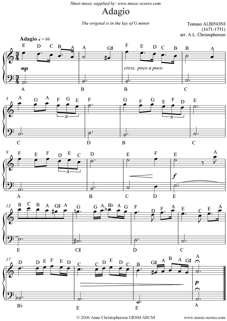 Front page of Adagio theme for easy piano with note names. sheet music