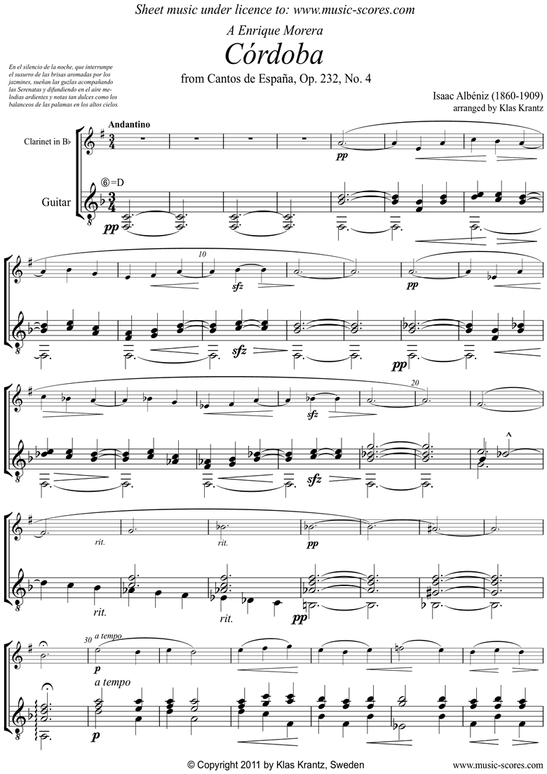 Front page of Op.232, No.4 Cordoba: Clarinet, Guitar sheet music