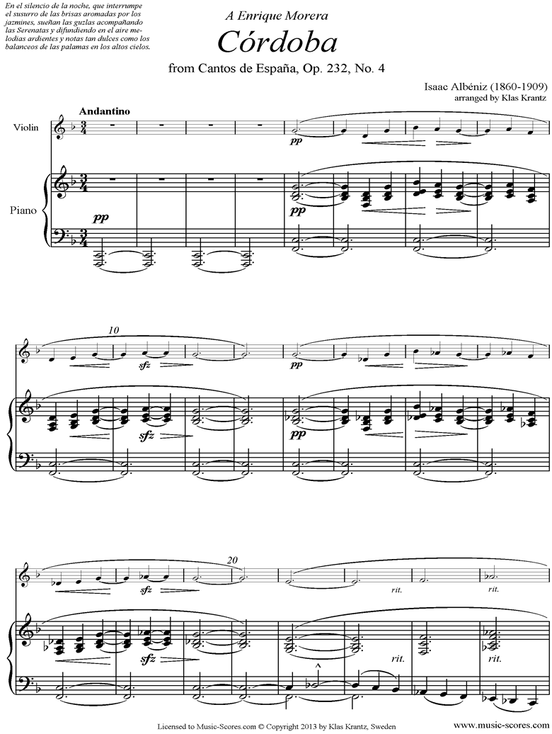 Front page of Op.232, No.4 Cordoba: Violin sheet music