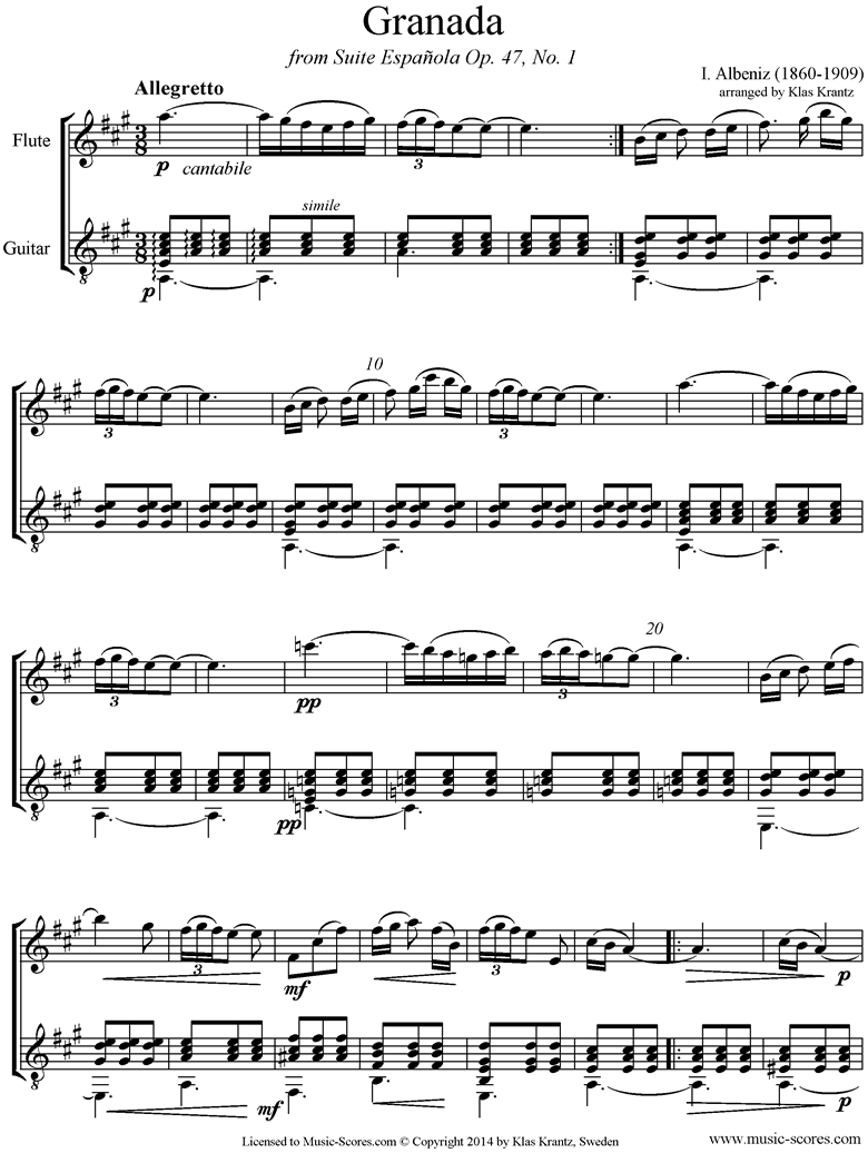 Front page of Op.47, No.1 Grenada: Flute, Guitar sheet music