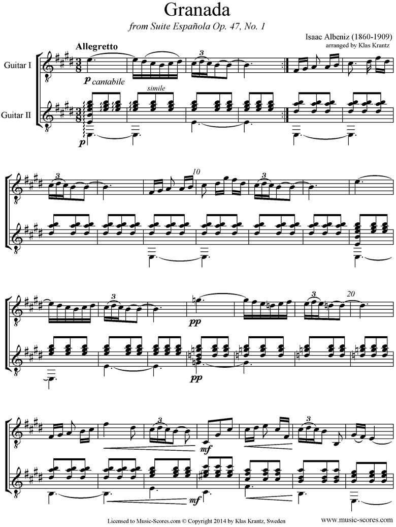 Front page of Op.47, No.1 Grenada: 2 Guitars sheet music