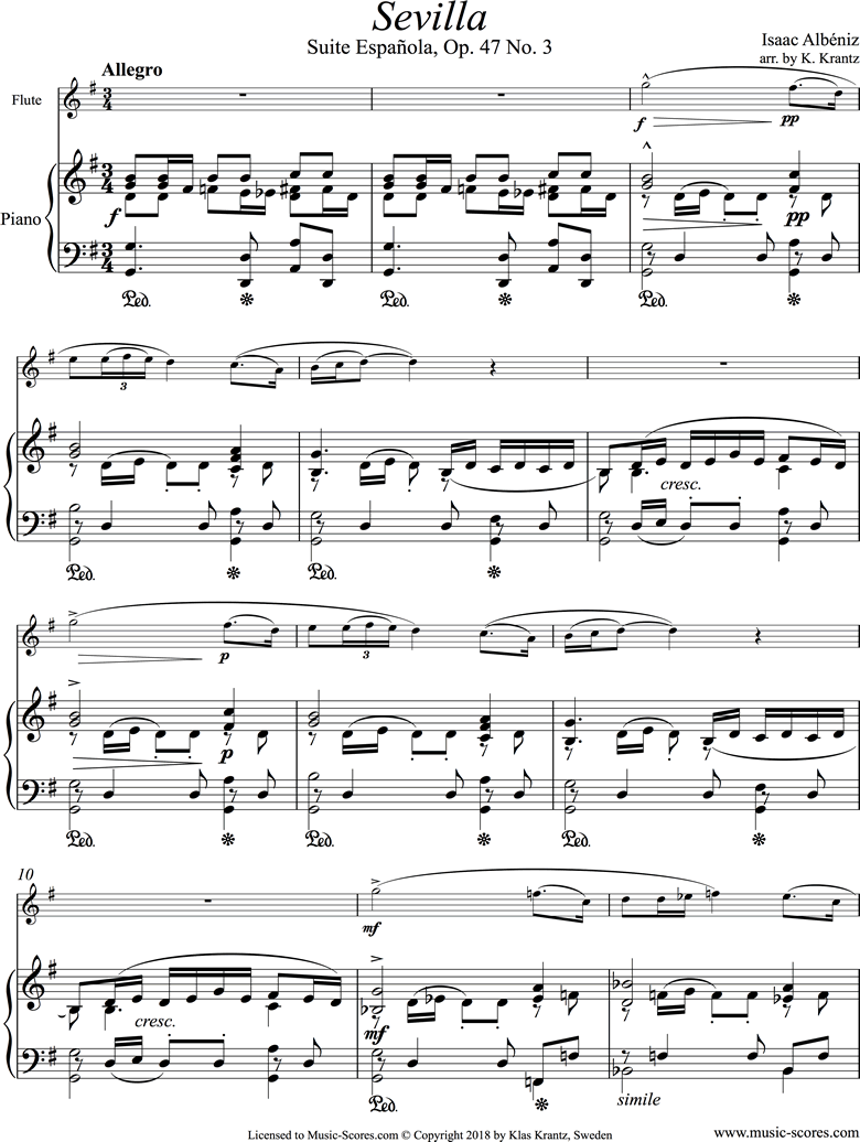Front page of Op.47, No.3 Sevilla: Flute, Piano sheet music
