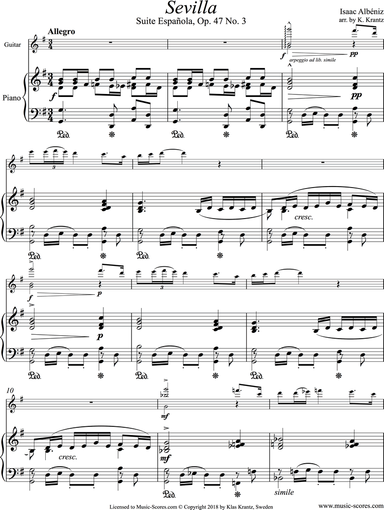 Front page of Op.47, No.3 Sevilla: Guitar, Piano sheet music