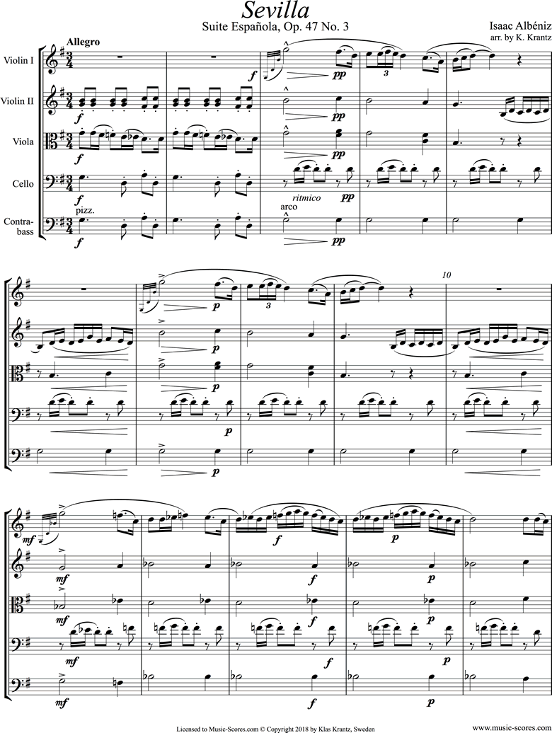 Front page of Op.47, No.3 Sevilla: String Quintet sheet music