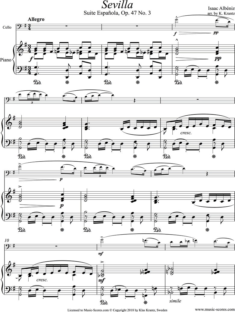 Front page of Op.47, No.3 Sevilla: Cello, Piano sheet music