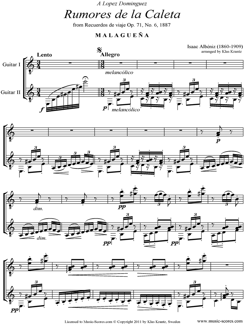 Front page of Malaguena: Op.71, No.6: 2 Guitars sheet music
