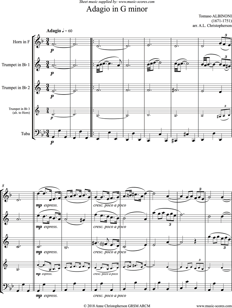 Front page of Adagio in G minor theme for Brass Quartet sheet music