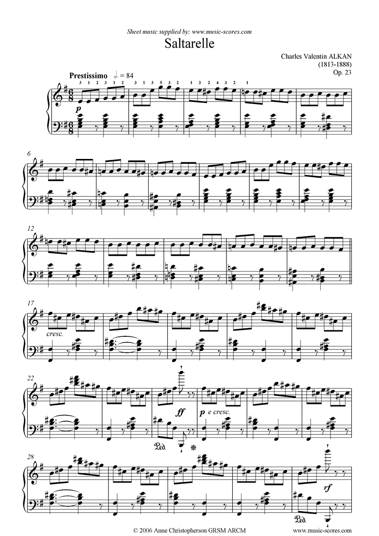Front page of Op.23: Saltarelle: Piano sheet music