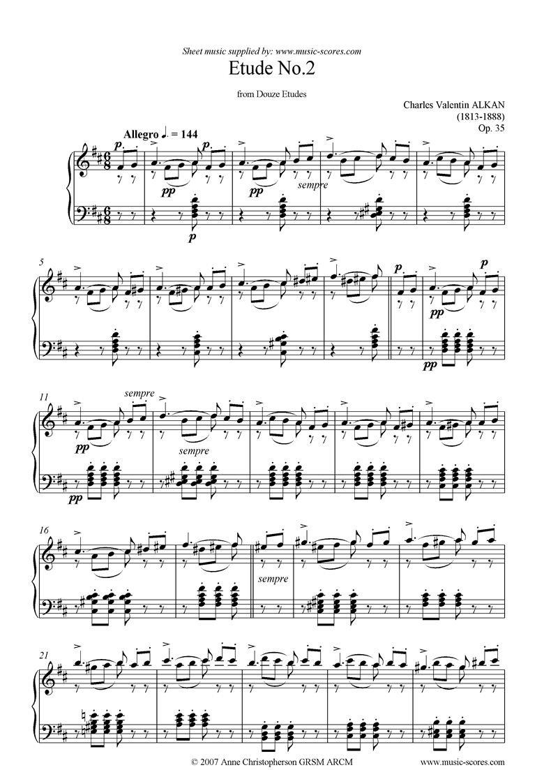 Front page of Op.35: 02: Douze Etudes sheet music