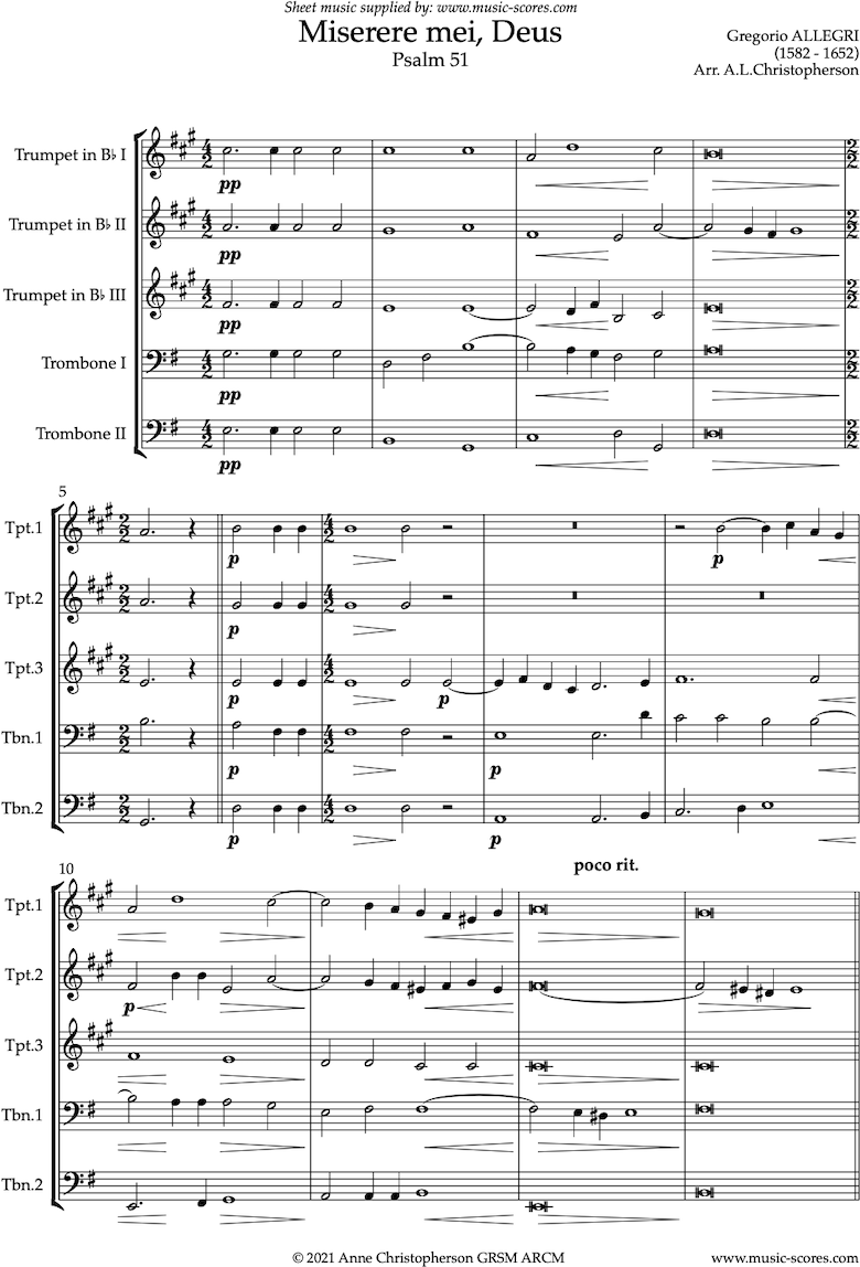 Front page of Miserere mei, Deus: Brass quintet sheet music