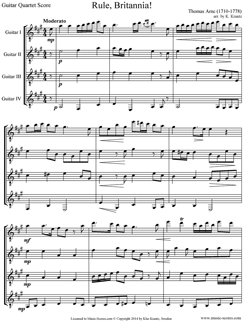 Front page of Rule Britannia: 4 Guitars sheet music