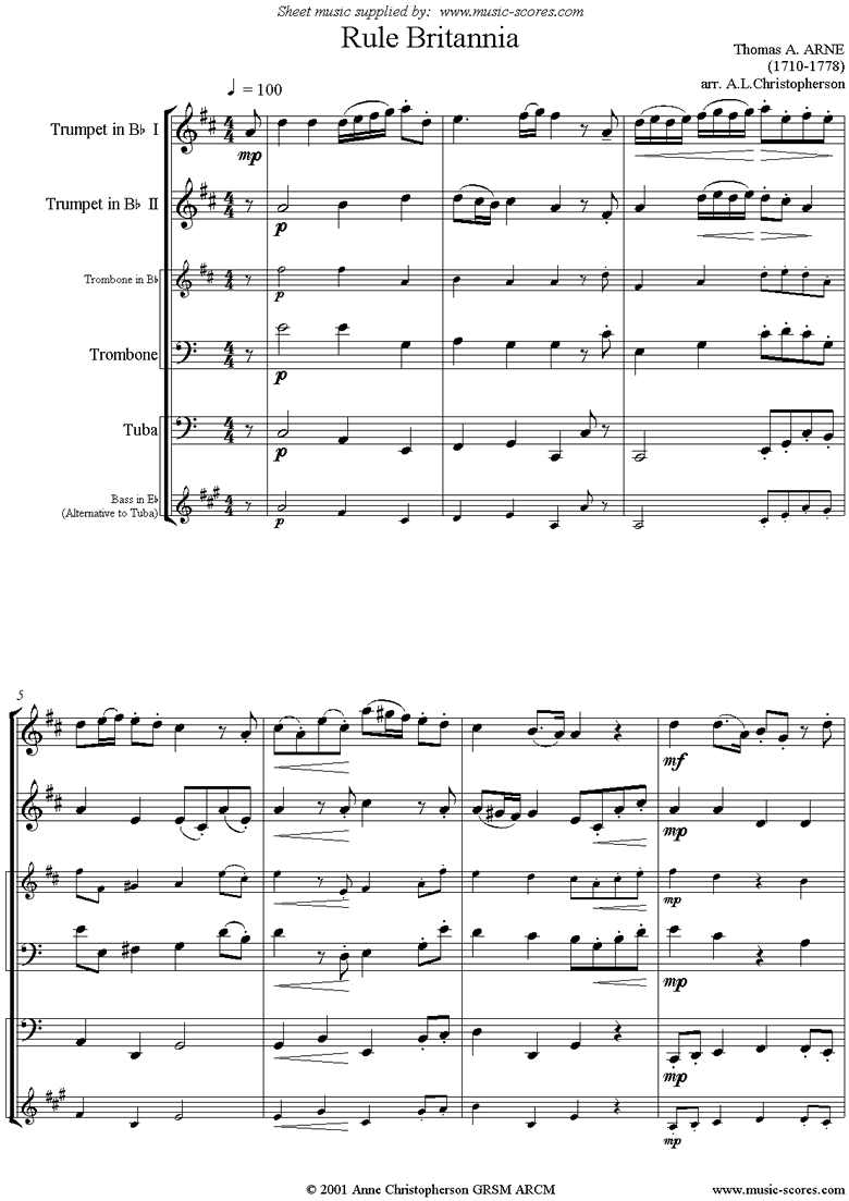 Front page of Rule Britannia: Brass Quartet: 2 Tpts, Tbn, Tba sheet music