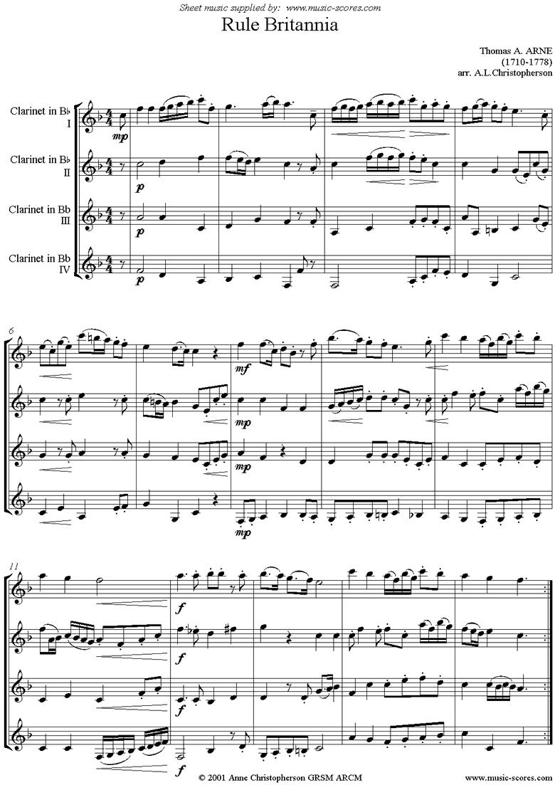 Front page of Rule Britannia: 4 Bb Clarinets sheet music