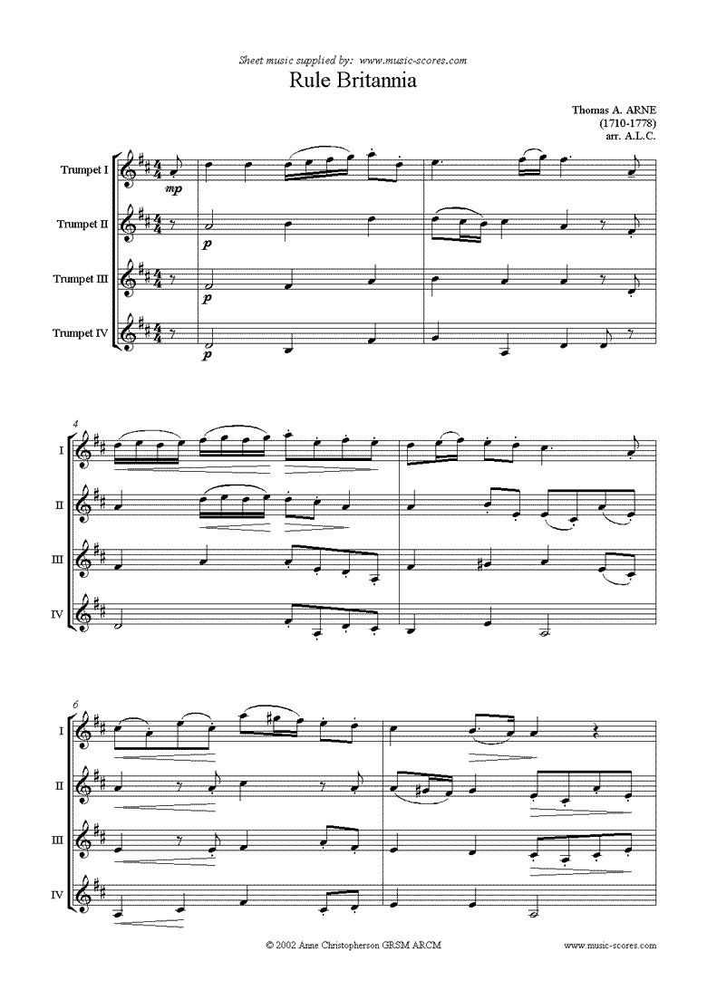 Front page of Rule Britannia: 4 Trumpets sheet music