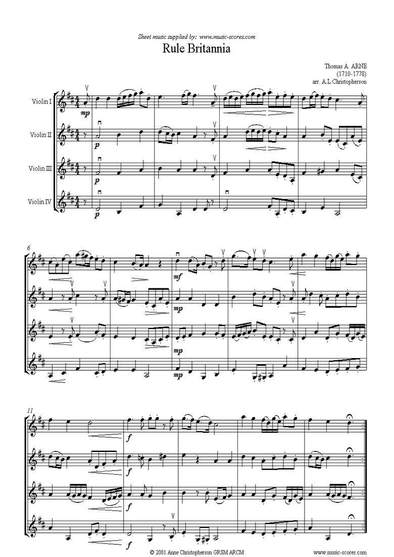 Front page of Rule Britannia: 4 Violins sheet music