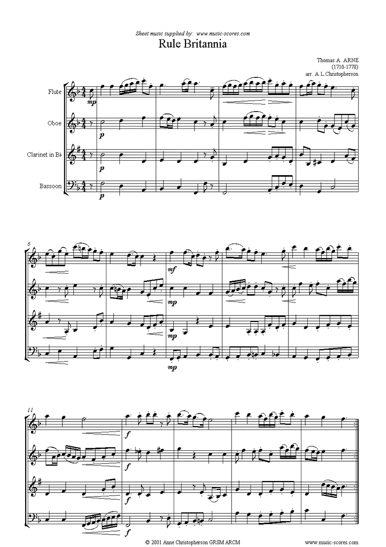 Front page of Rule Britannia: Flute, Oboe, Clarinet, Bassoon sheet music