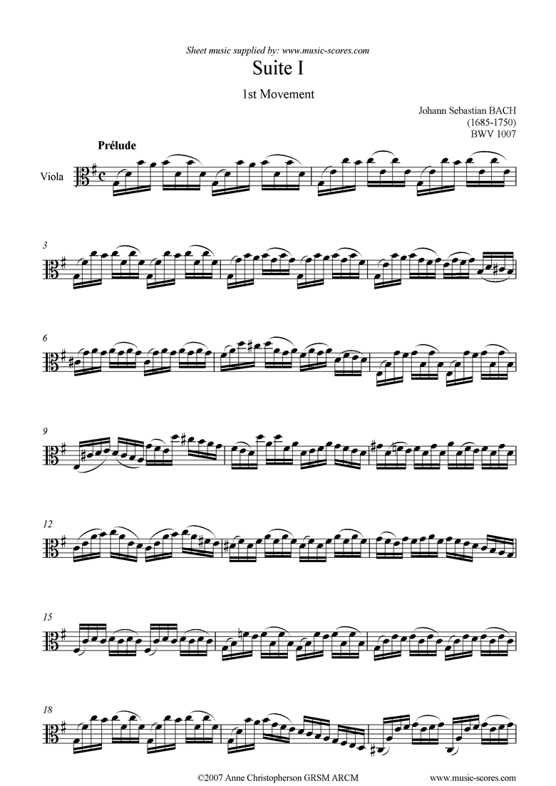 Front page of bwv 1007 Suite No.1: 1st mt: Prelude: Viola sheet music