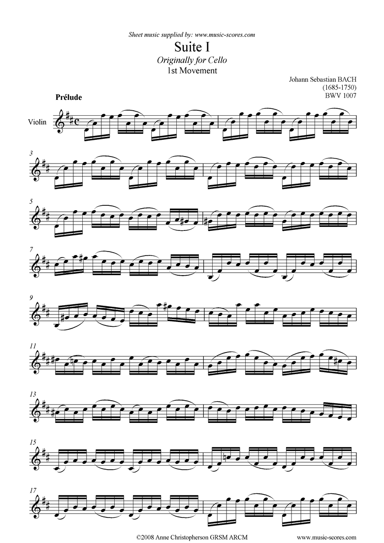 Front page of bwv 1007 Suite No.1: 1st mt: Prelude: Violin sheet music