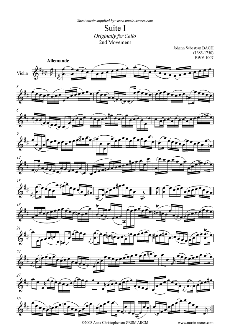 Front page of bwv 1007 Suite No.1: 2nd mt: Allemande: Violin sheet music