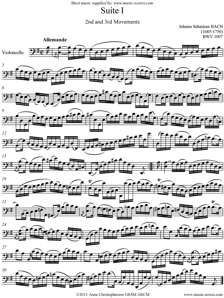 Front page of bwv 1007 Cello Suite No.1: 2nd and 3rd mvts: Allemande, Courante sheet music