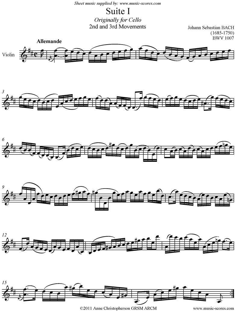 Front page of bwv 1007 Cello Suite No.1: 2nd and 3rd mvts: Allemande, Courante: Violin sheet music
