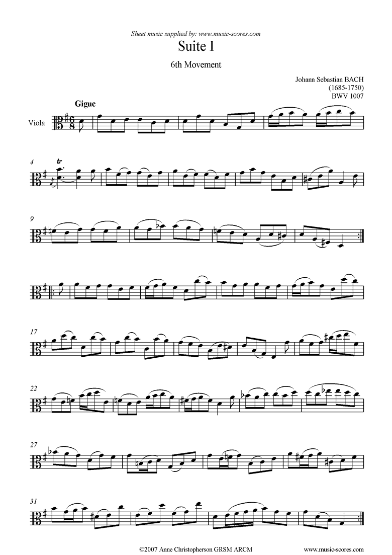 Front page of bwv 1007 Cello Suite No.1: 6th mvt: Gigue: Viola sheet music