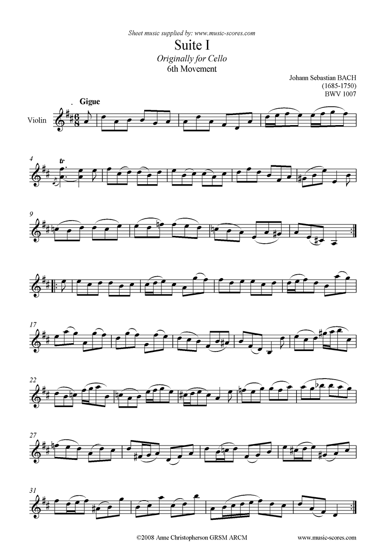 Front page of bwv 1007 Cello Suite No.1: 6th mvt: Gigue: Violin sheet music