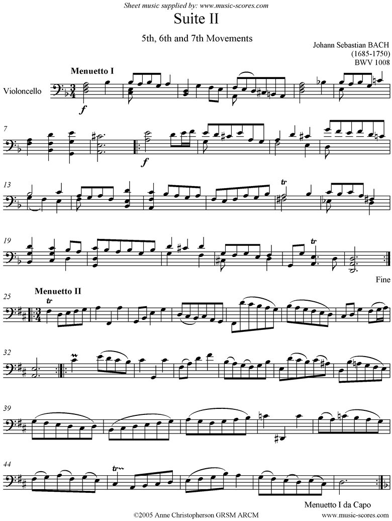 Front page of bwv 1008 Cello Suite No.2: 5th, 6th, 7th mvt: Minuets and Gigue sheet music