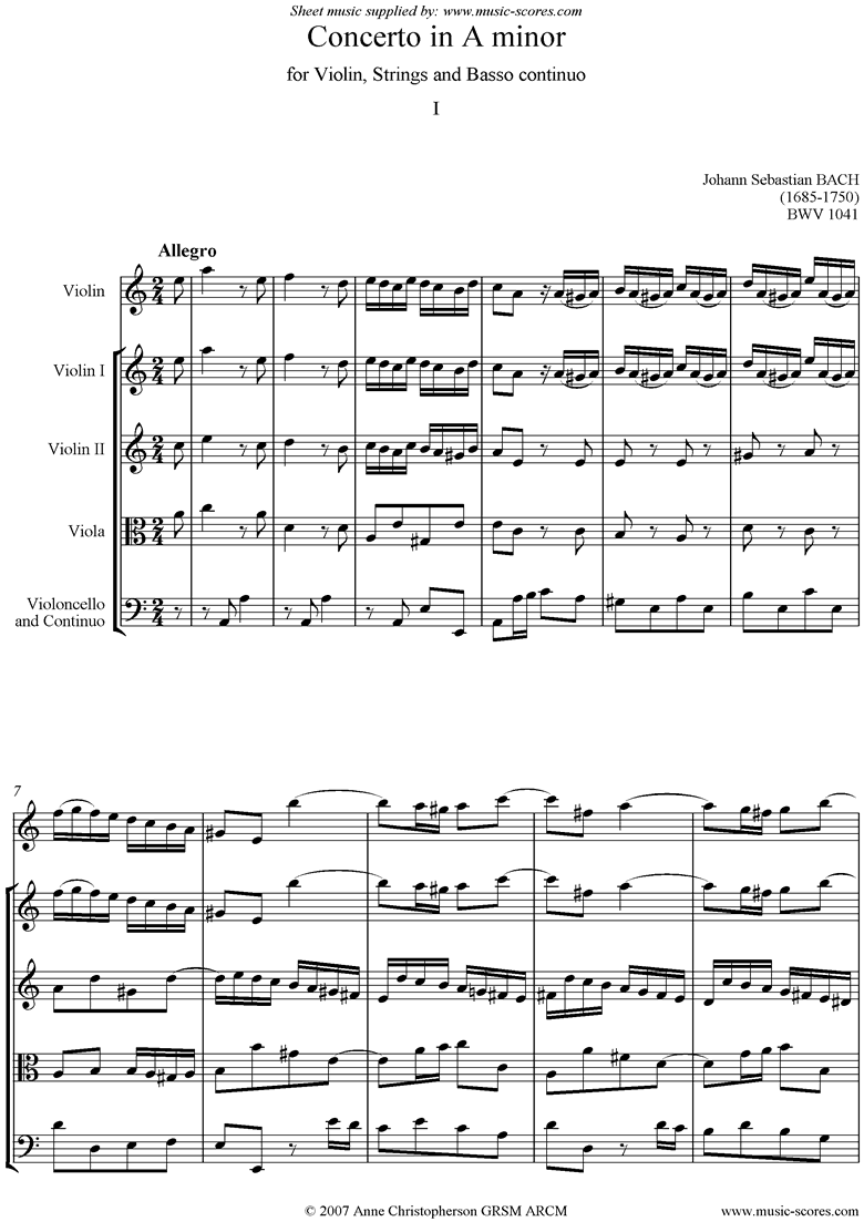 Front page of bwv 1041: 1st Violin Concerto: 1st mvt Allegro sheet music