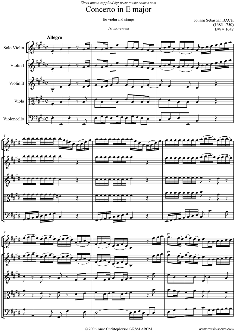 Front page of bwv 1042: Violin Concerto in E: 1st mvt sheet music