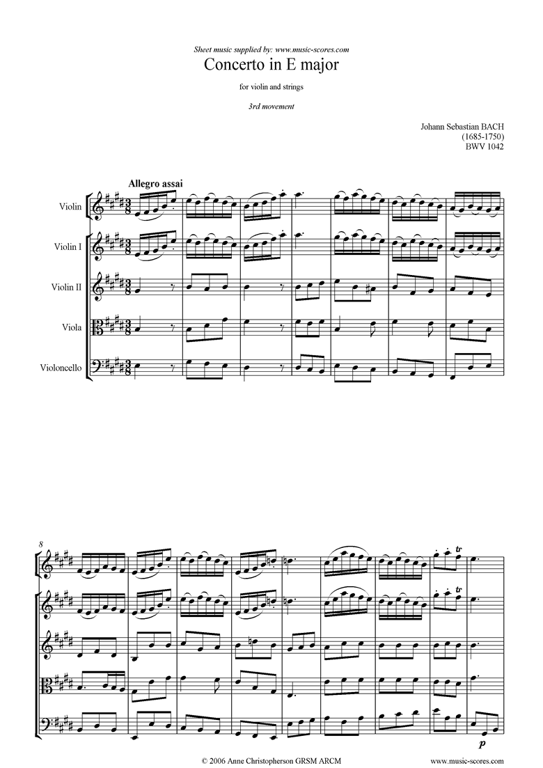 Front page of bwv 1042: Violin Concerto in E: 3rd mvt sheet music