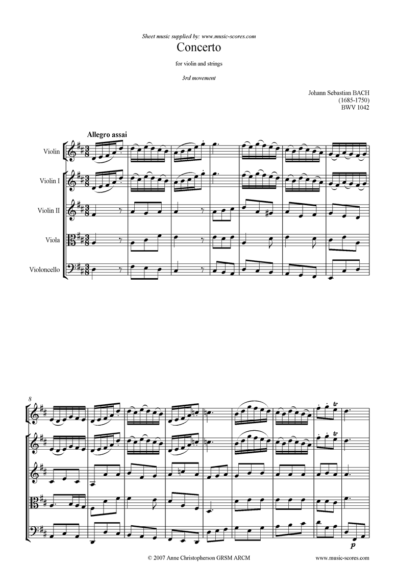Front page of bwv 1042: Violin Concerto E: 3rd mvt down to D ma sheet music