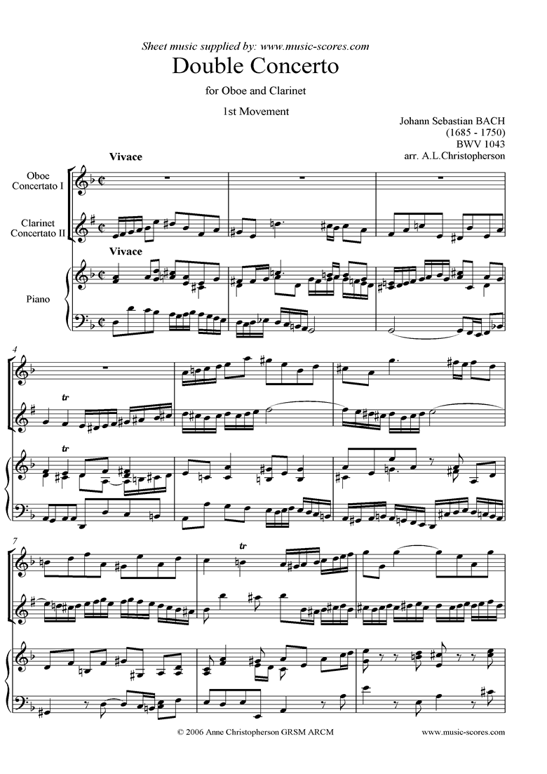 Front page of bwv 1043: Double Concerto, ob cl: 1st mvt sheet music