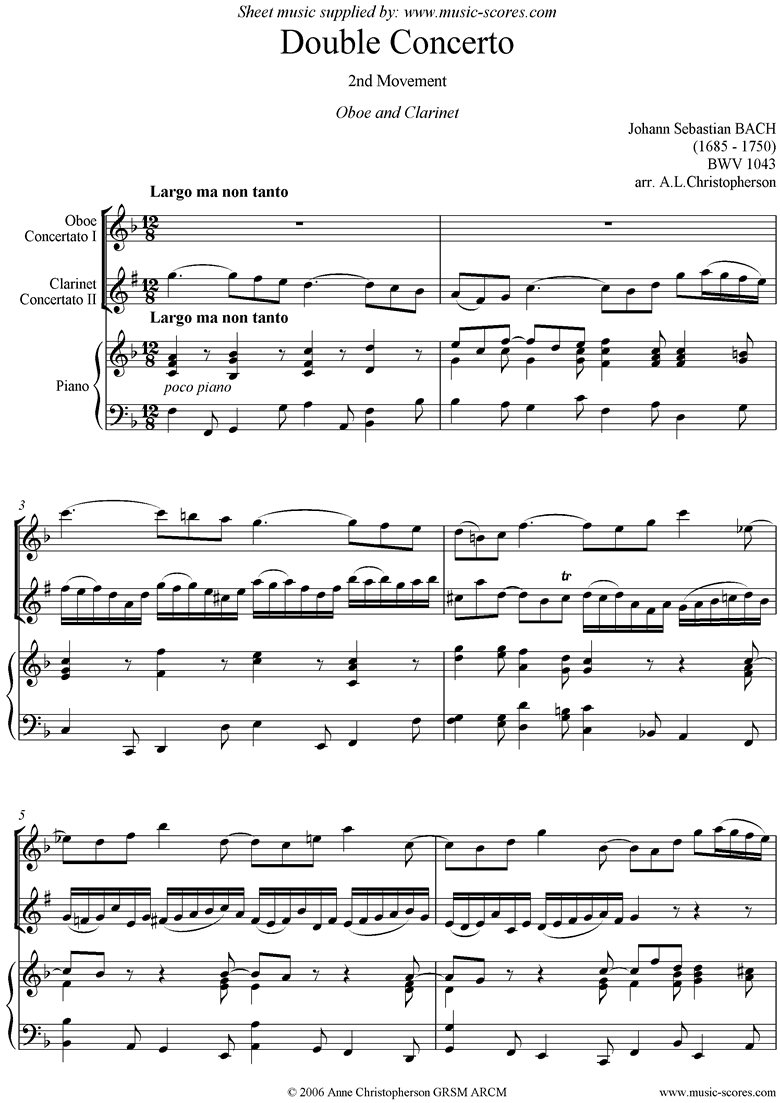 Front page of bwv 1043: Double Concerto, ob cl: 2nd mvt sheet music