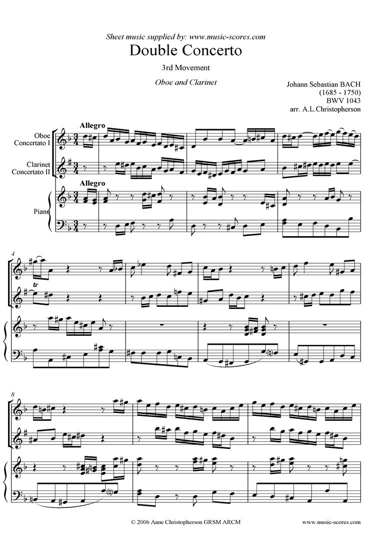 bwv 1043: Double Concerto, ob cl: 3rd mvt by Bach