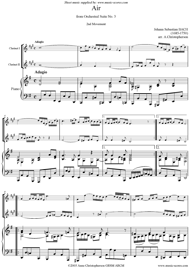 Front page of bwv 1068: Air on G: 2 Clarinets and Piano: G ma sheet music