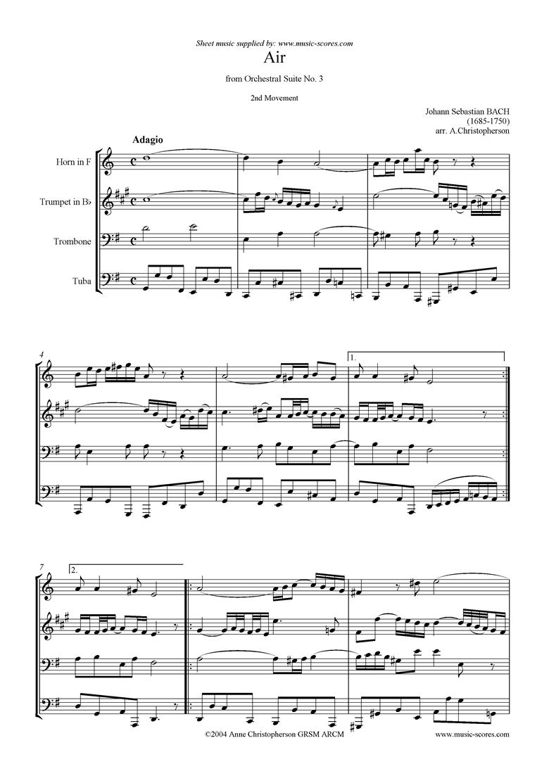 bwv 1068: Air on G: brass 4: horn, tpt, tbn, tuba: G ma by Bach