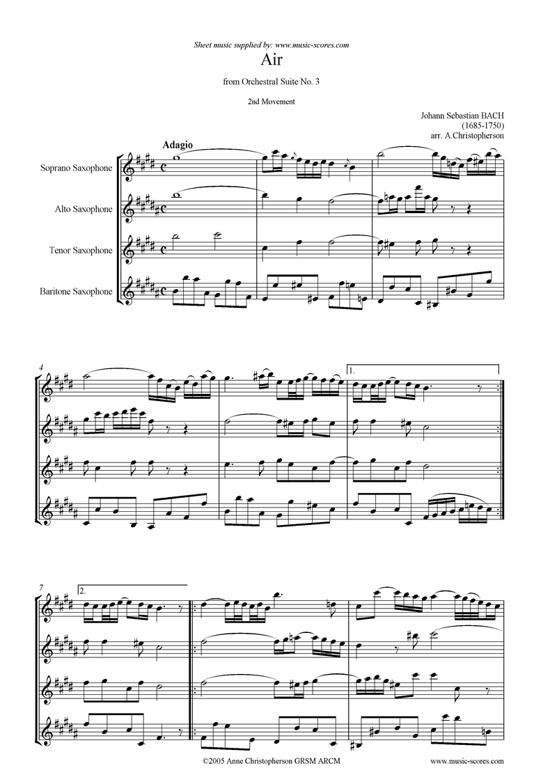 Front page of bwv 1068: Air on G: Sax 4: Soprano, Alto, Tenor, Bari: D ma sheet music