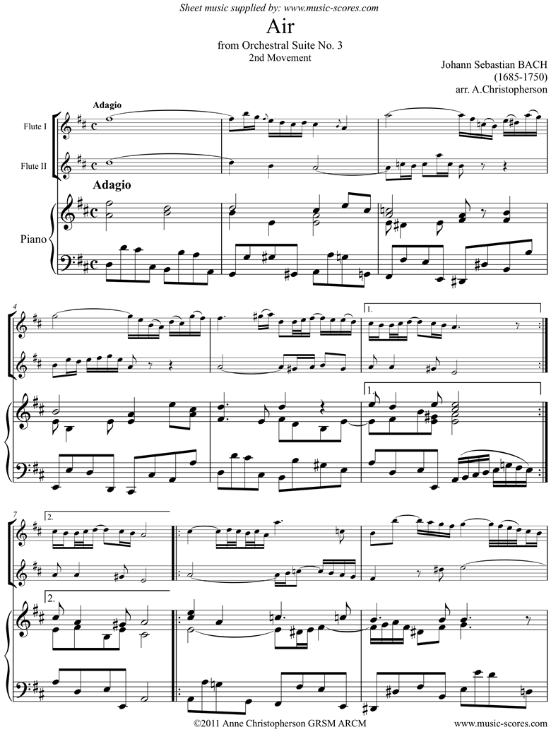 Front page of bwv 1068: Air on G for 2 flutes and piano. D ma sheet music