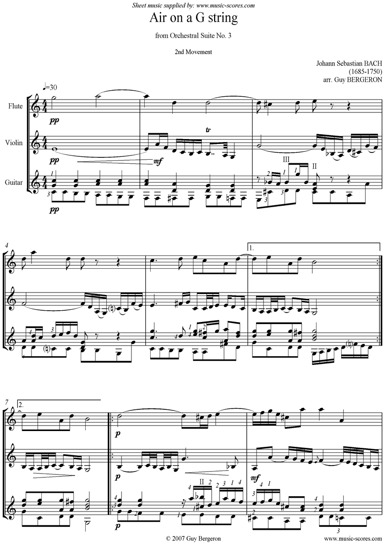Front page of bwv 1068: Air on G for Flute, Violin and Guitar sheet music