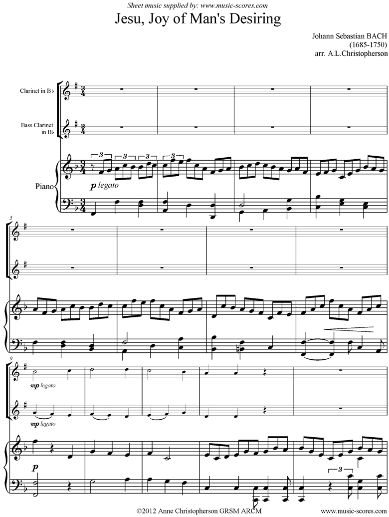 Front page of Jesu Joy: Church Cantata No.147: Clarinet, Bass Clarinet, Piano sheet music