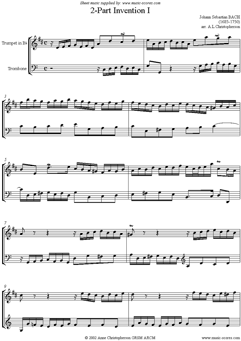 Front page of Two Part Invention No. 01 sheet music