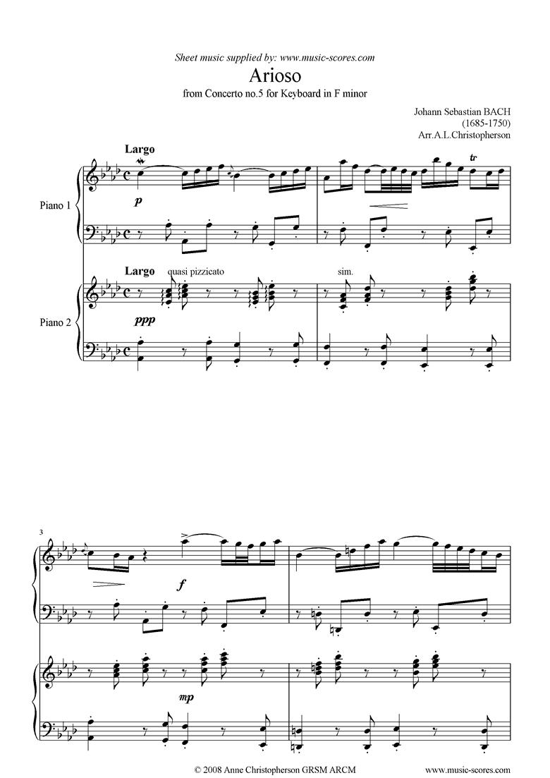 Cantata 156, 5th Concerto: Arioso: 2 pianos by Bach