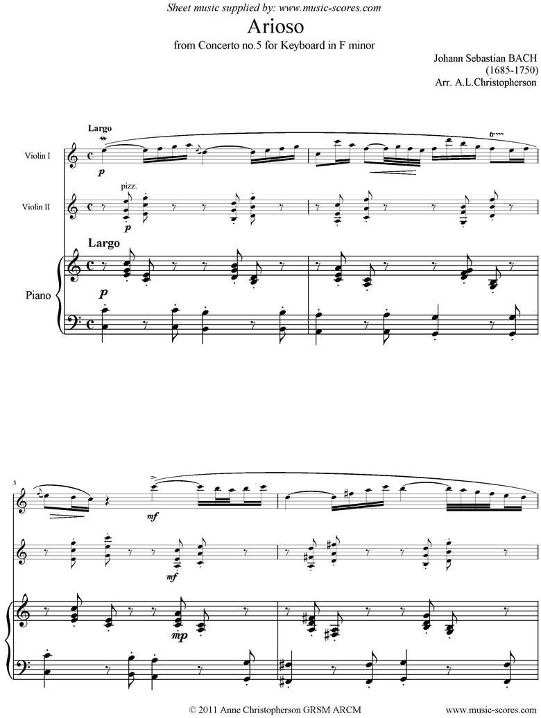 Front page of Cantata 156, 5th Concerto: Arioso: 2 Violins, Piano sheet music