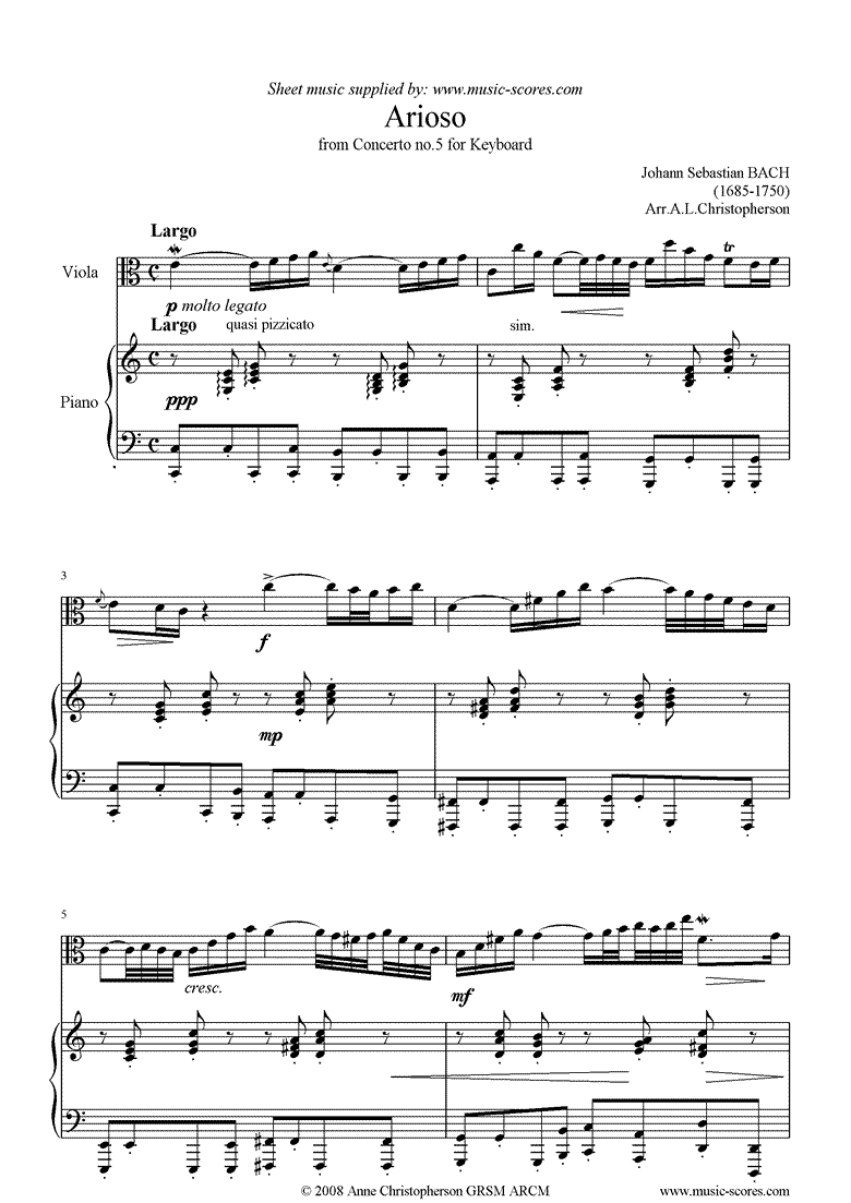 Front page of Cantata 156, 5th Concerto: Arioso: Viola sheet music